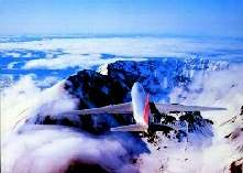Boeing 747-200 Northwest Orient Airlines over volcano St. Helen