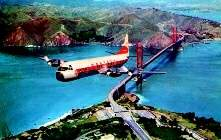 Lockheed 188 Electra Western Airlines over Golden Gate Bridge